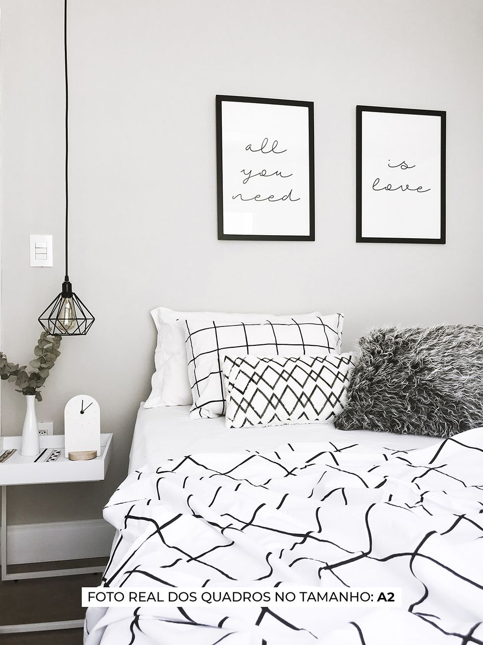 KIT QUADROS ALL YOU NEED / IS LOVE decorativos