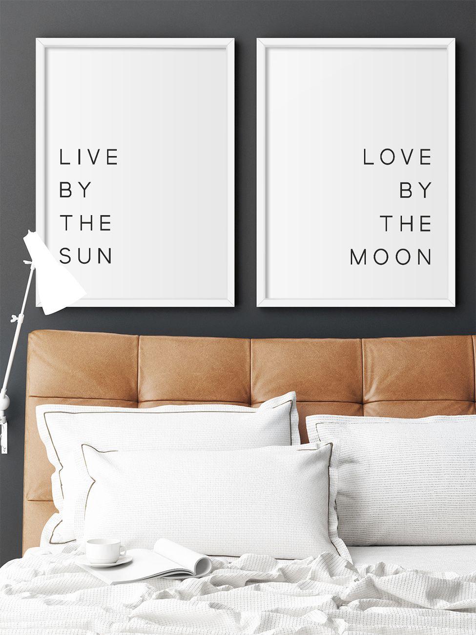 KIT DE QUADROS LIVE BY THE SUN / LOVE BY THE MOON decorativos