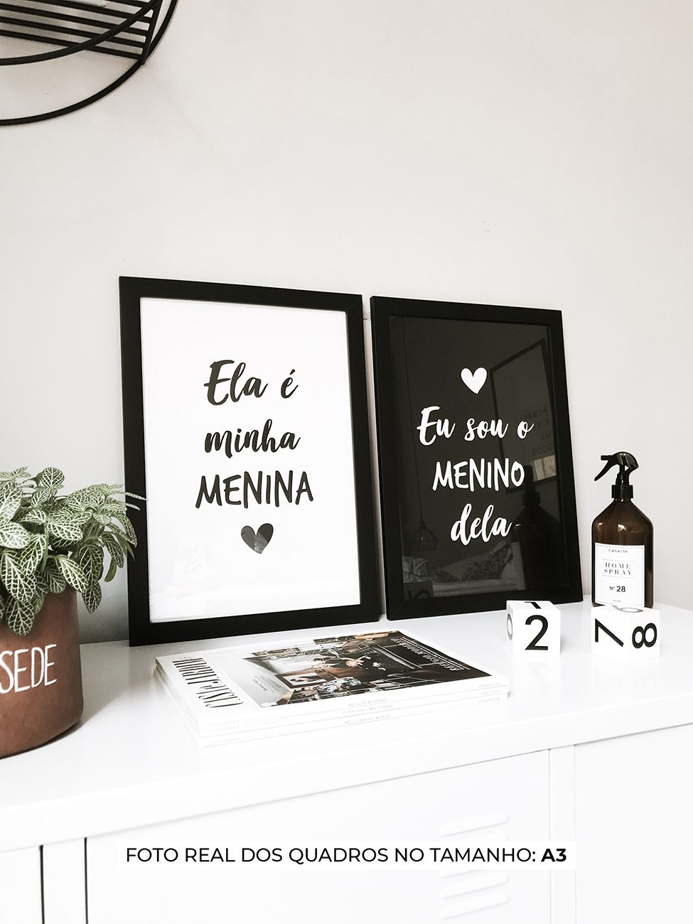 KIT DE QUADROS ELA É MINHA MENINA / EU SOU O MENINO DELA decorativos