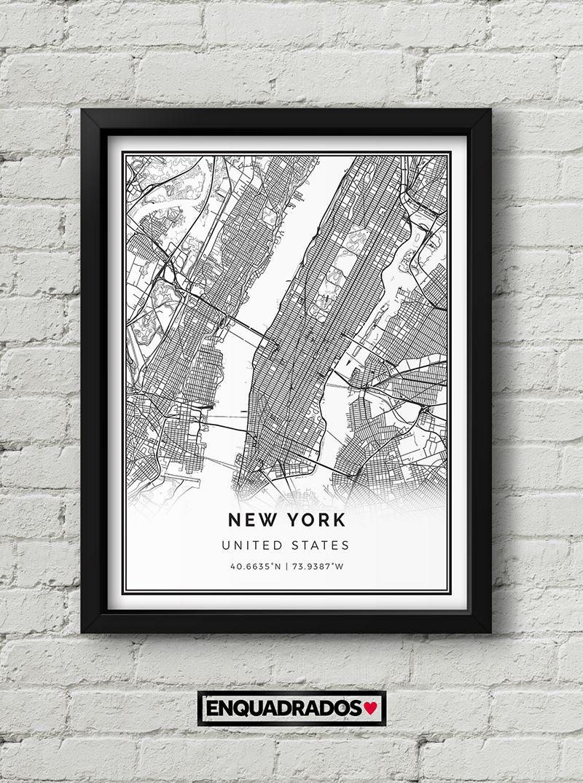 QUADRO MAPA DE NOVA YORK