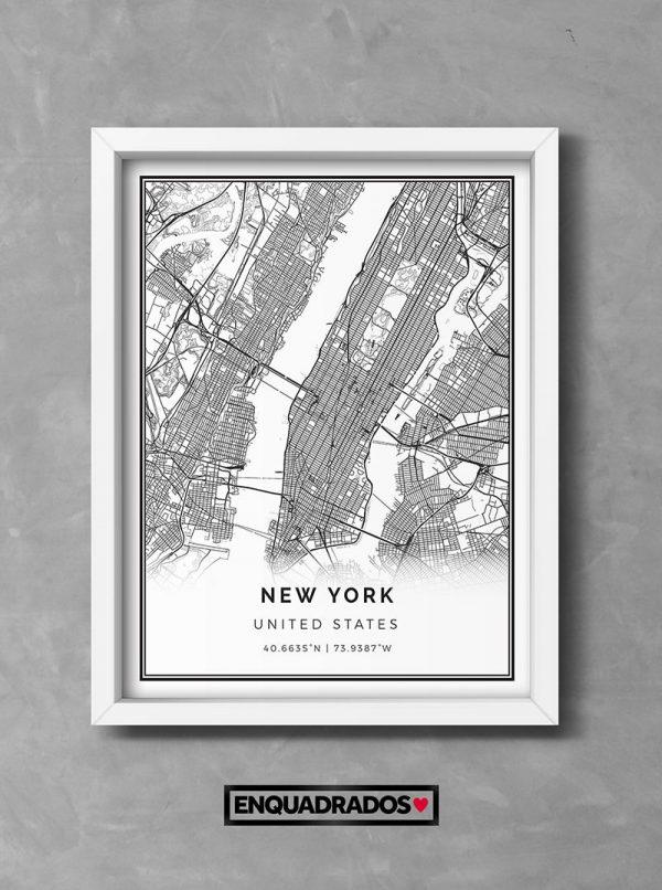 QUADRO MAPA DE NOVA YORK decorativos