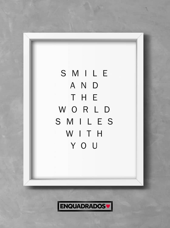 QUADRO SMILE TO THE WORLD decorativos